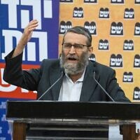 משה גפני בהתקפה חריפה על נפתלי בנט במסיבת עיתונאים בכנסת, 8 ביוני 2021 (צילום: יונתן זינדל/פלאש90)