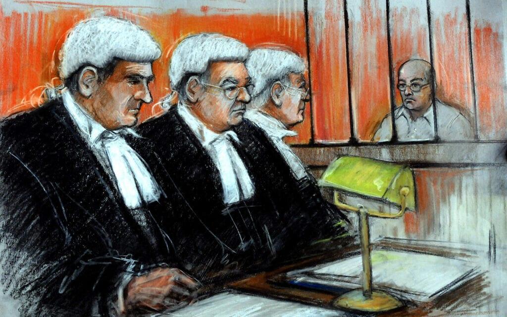 איור מבית המשפט בשימוע של הערעור של קולין פיצ'פורק על משך מאסרו (צילום: Elisabeth Cook / PA Images / Alamy)