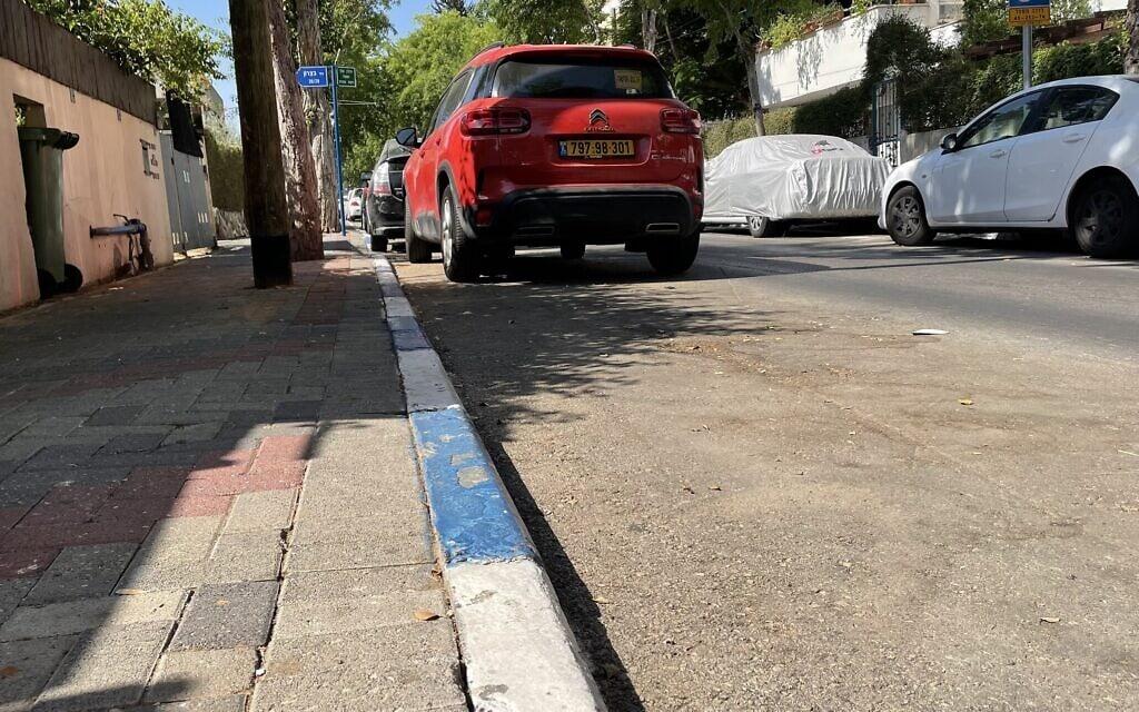 חנייה בכחול-לבן בתל אביב (צילום: אמיר בן-דוד)