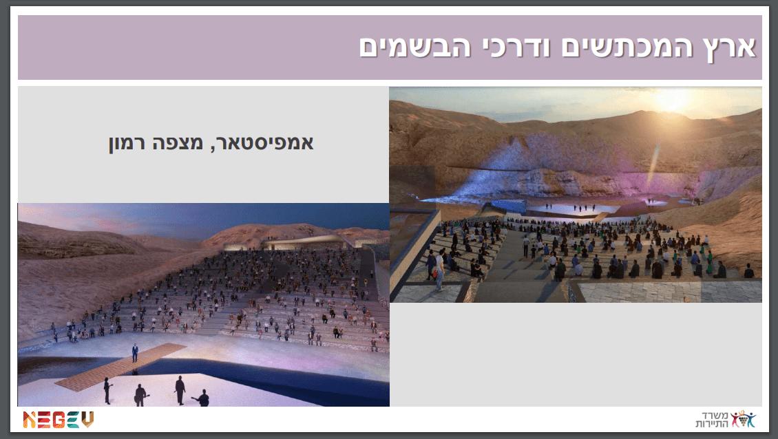 """הדמייה של מתחם האמפיסטאר המתוכנן ליד חניון הגבס. """"3,000 איש יבואו בשביל המוזיקה, לא כדי לטייל במכתש"""""""