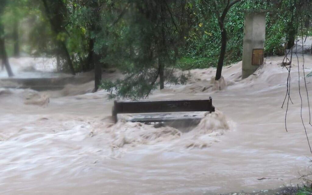 מסלול הטיולים המונגש בנחל השופט מוצף בסערה ב-2020 (צילום: באדיבות עמותת לטם)