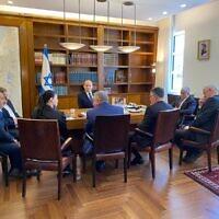 ישיבת ראשי סיעות הקואליציה במשרד ראש הממשלה נפתלי בנט, 20 ביוני 2021