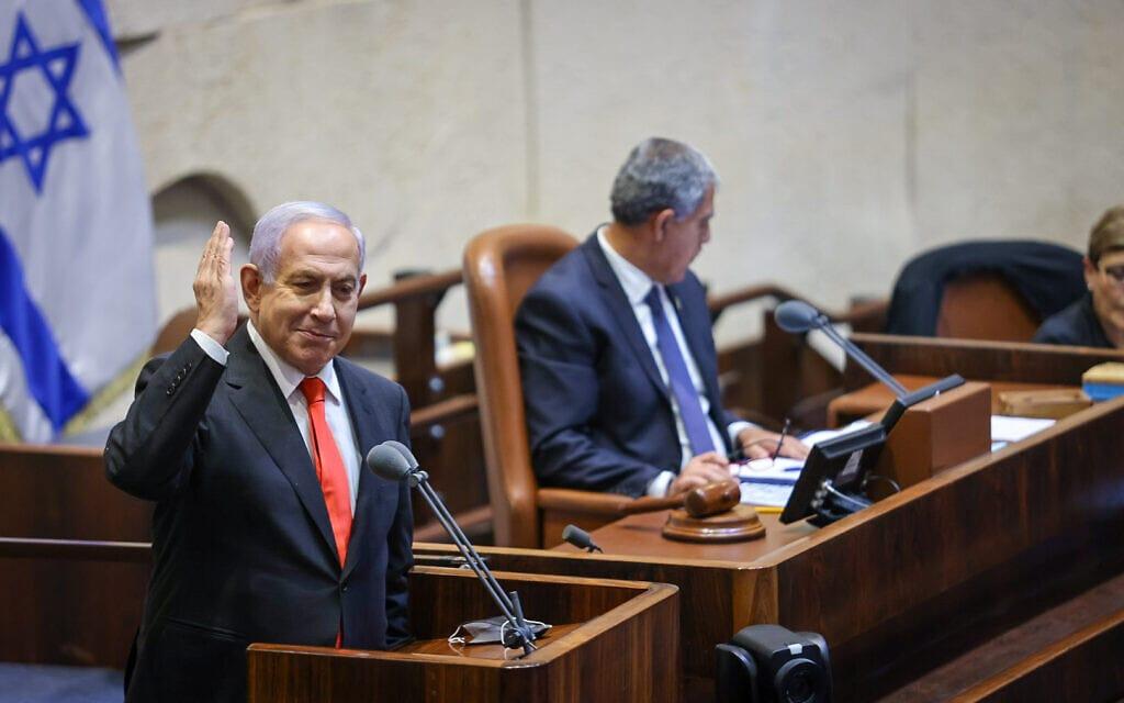 בנימין נתניהו נואם במהלך הדיון על חוק האזרחות, 5 ביולי2021 (צילום: נועם מושקוביץ, דוברות הכנסת)