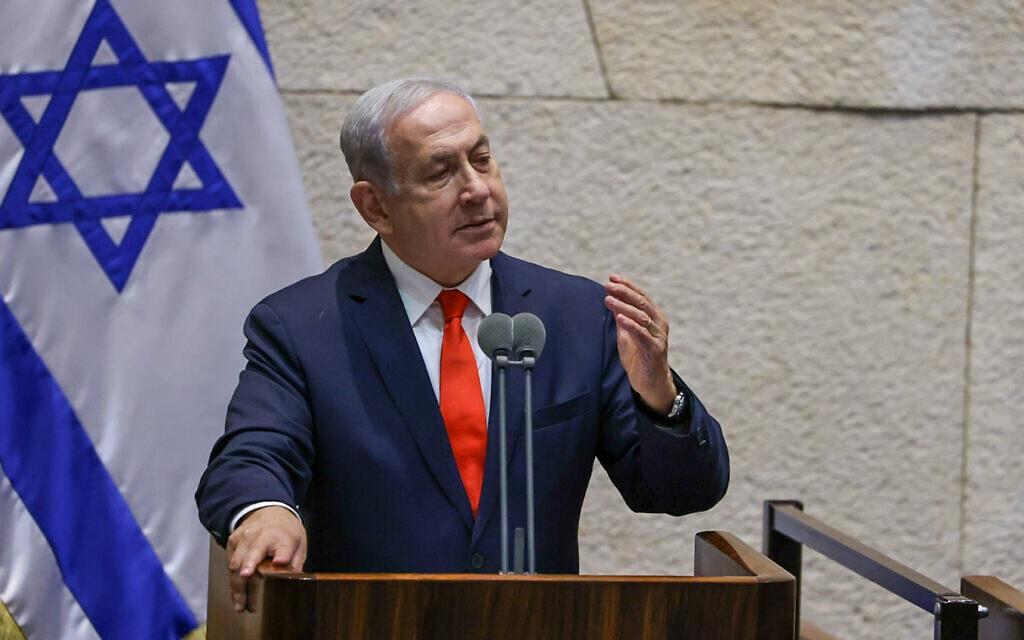 יושב ראש האופוזיציה בנימין נתניהו נואם במליאת הכנסת, 12 ביולי 2021 (צילום: דוברות הכנסת - נועם מושקוביץ)