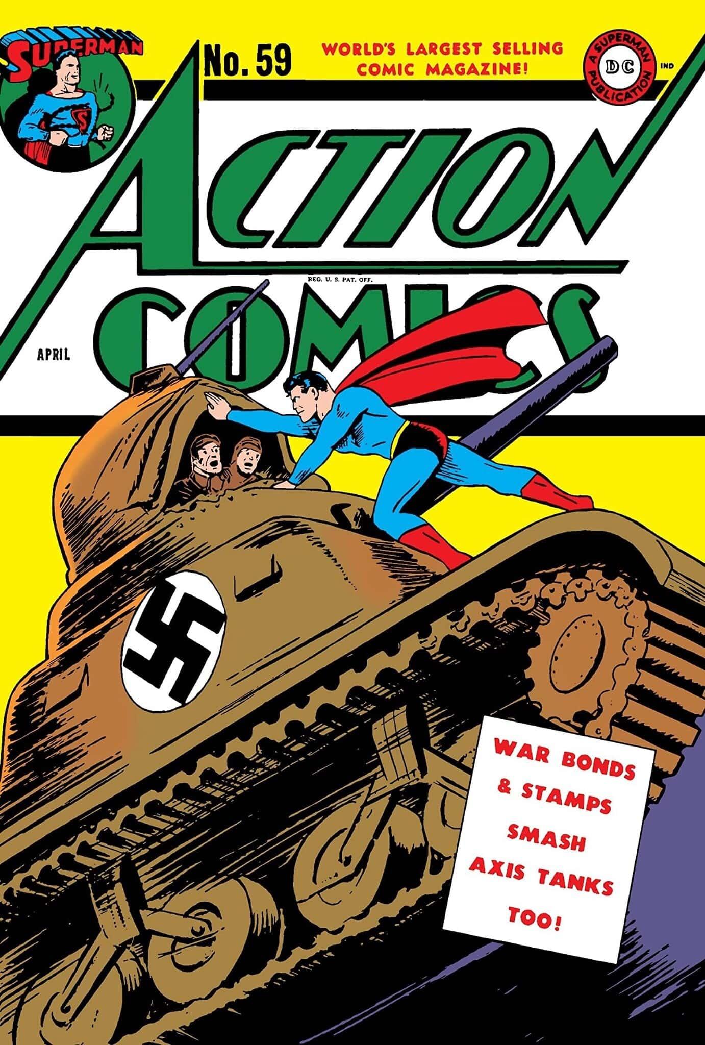 סופרמן מפרק במו ידיו טנק נאצי על הכריכה של גיליון אפריל מ-1947 (צילום: באדיבות רוי שוורץ)