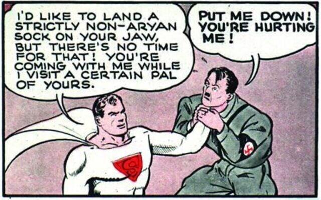 סופרמן מניח את זרועו הבלתי ארית סביב צווארו של היטלר (צילום: באדיבות רוי שוורץ)