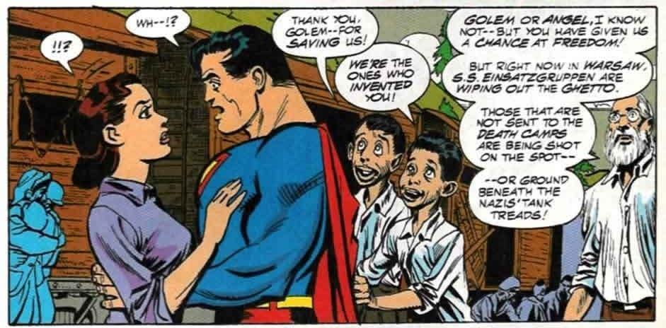 סופרמן יוצא לפעולה במהלך השואה ונקרא גולם (צילום: באדיבות רוי שוורץ)