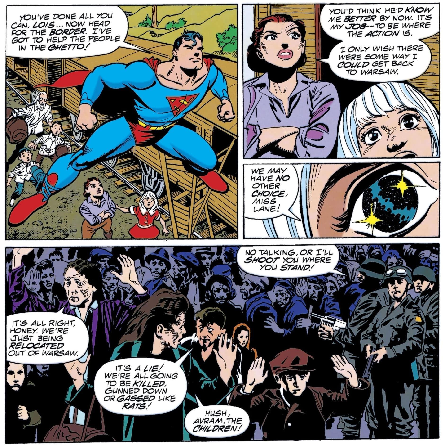 קומיקס של סופרמן שבו, בציור האחרון, מתייחסים לצילום השואה האיקוני מגטו ורשה (צילום: באדיבות רוי שוורץ)