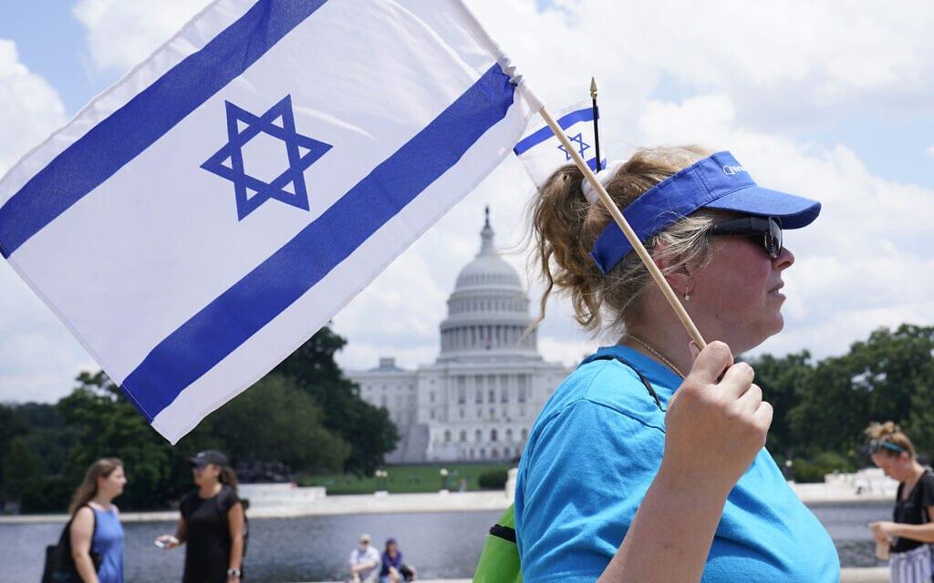 עצרת נגד אנטישמיות בוושינגטון הבירה, 11 ביולי 2021 (צילום: AP Photo/Susan Walsh)
