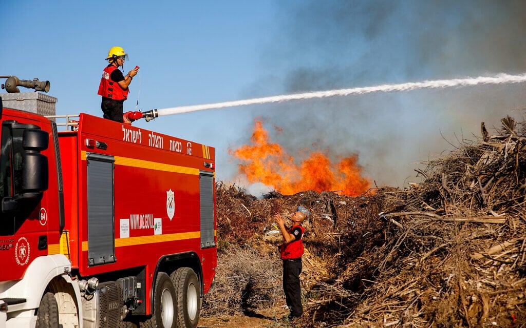 לוחמי אש מכבים שרפה שפרצה ביער שמחוני כתוצאה מבלוני נפץ שהופרחו מרצועת עזה, 15 ביוני 2021 (צילום: פלאש90)