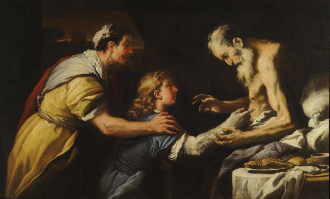 רבקה מנחה את יעקב מול יצחק. ציור מהמאה ה-17 של הצייר האיטלקי לוקה ג'ורדאנו