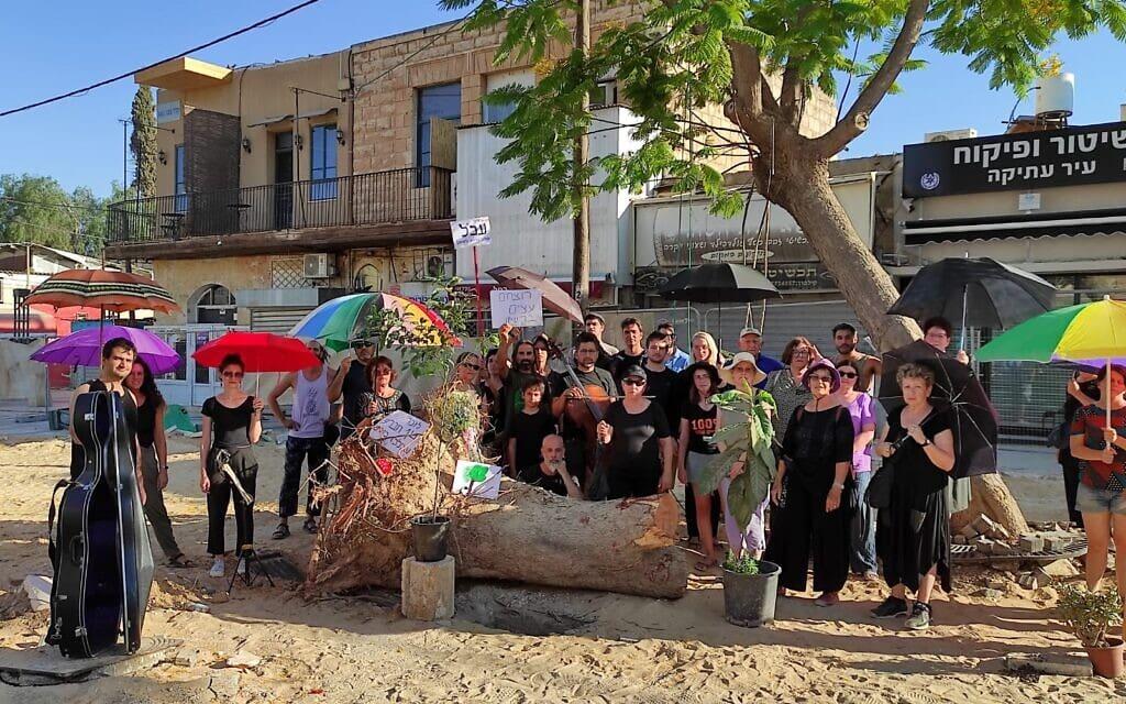 """טקס הלווייה לעצים שנכרתו ברחוב קק""""ל בבאר שבע, 17 ביולי 2021 (צילום: שיר פריימן)"""