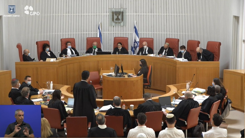 הדיון בבית המשפט העליון בעניין ערעורו של יונתן אוריך ואחרים, 27 ביולי 2021 (צילום: צילום מסך, הרשות השופטת)