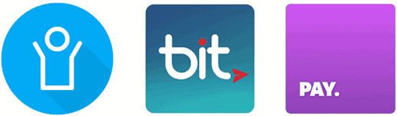אפליקציות התשלום פיי, ביט ופייבוקס
