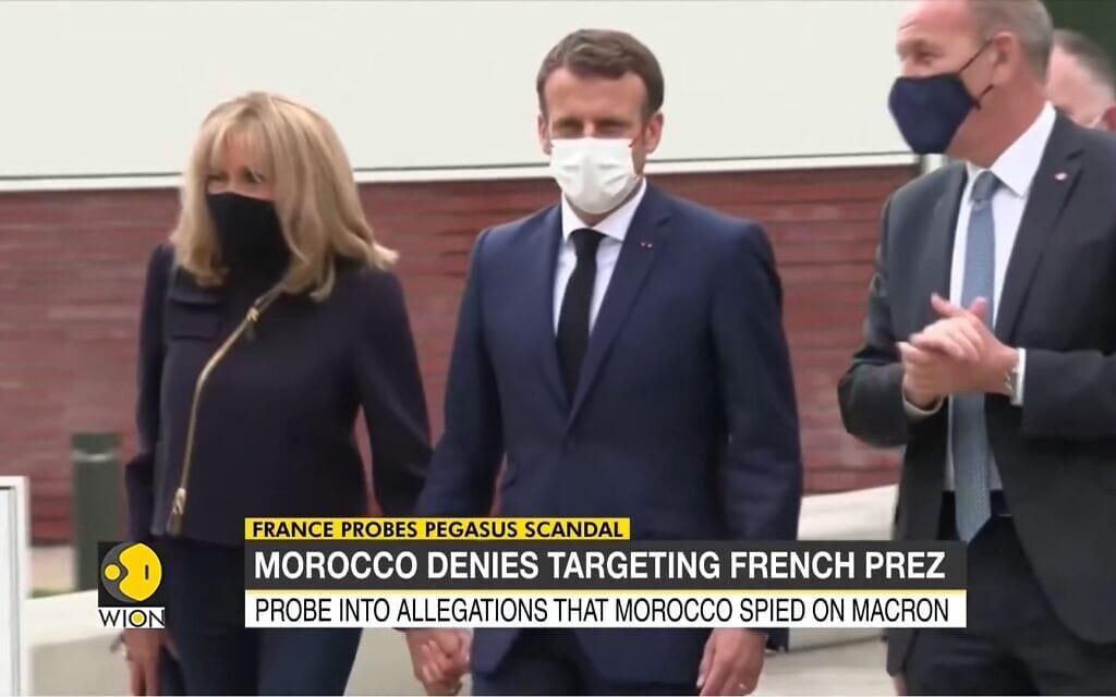 """עמנואל מקרון, על פי החשד היה מושא למעקב ע""""י תכנת פגסוס שהופעלה בידי מרוקו, צילום מסך מכתבה של WION"""