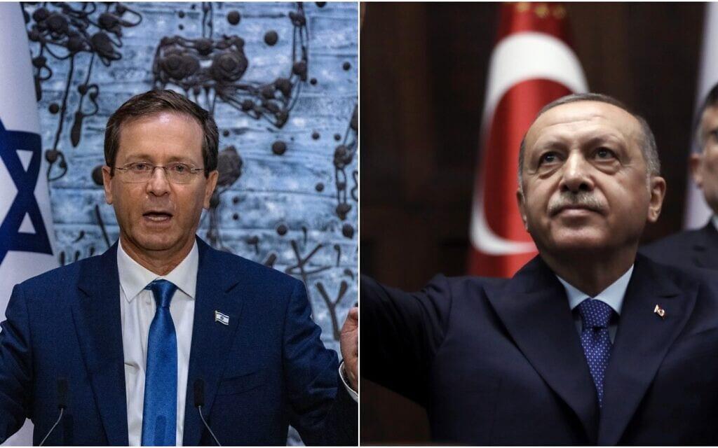 נשיא טורקיה רג'פ טאיפ ארדואן ונשיא המדינה יצחק הרצוג (צילום: AP Photo/Burhan Ozbilici; Olivier Fitoussi/FLASH90)