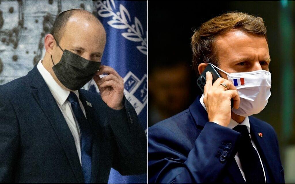 ראש ממשלת צרפת עמנואל מקרון וראש ממשלת ישראל נפתלי בנט (צילום: John Thys, Pool Photo via AP; Yonatan Sindel/Flash90)