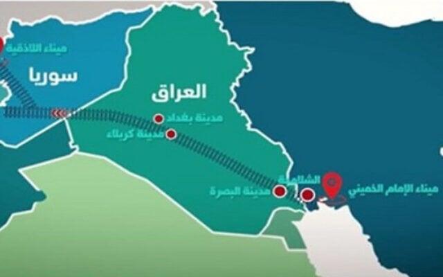פרויקט מסילת הברזל האיראני (מקור: https://bit.ly/2UUDrmy)