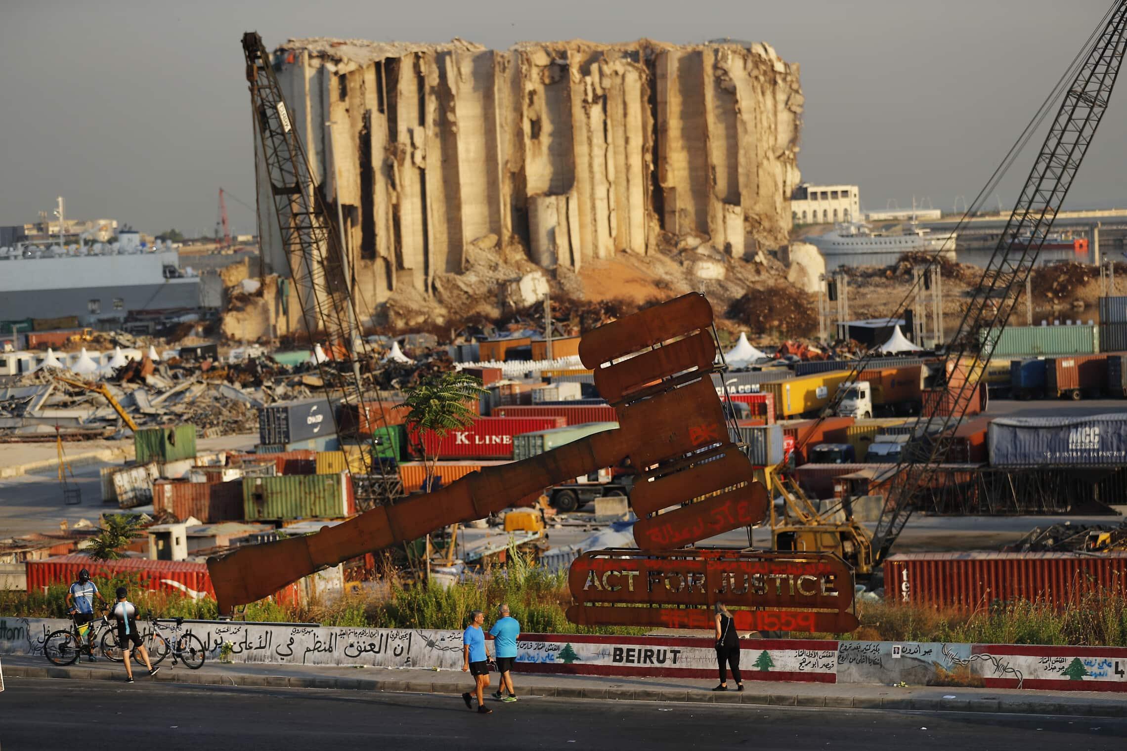 שנה אחרי הפיצוץ בנמל ביירות, 4 באוגוסט 2021 (צילום: AP Photo/Hussein Malla)