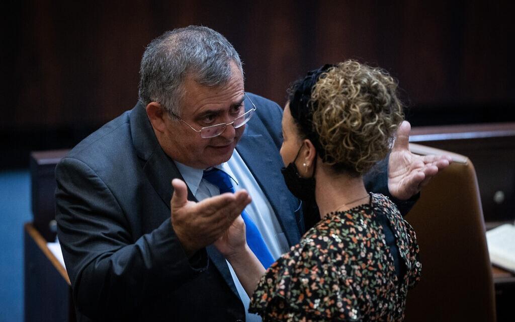 עידית סילמן ודוד ביטן מחליפים דברים במהלך ההצבעה על חוק האזרחות במליאת הכנסת, 6 ביולי 2021 (צילום: יונתן זינדל/פלאש90)