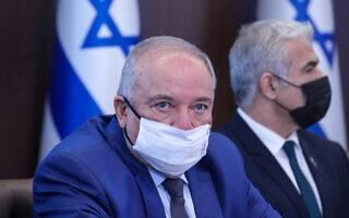 שר האוצר אביגדור ליברמן בישיבת הממשלה, 11 ביולי 2021 (צילום: Marc Israel Sellem/POOL)