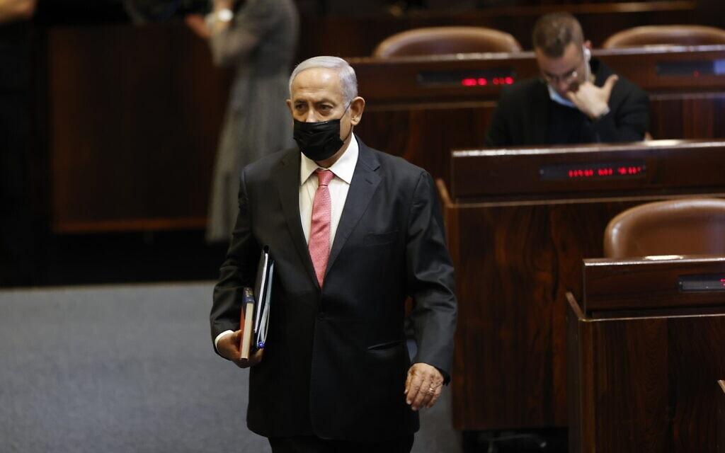 ראש האופוזיציה ויושב ראש הליכוד בנימין נתניהו במליאת הכנסת, 2 באוגוסט 2021 (צילום: יונתן זינדל, פלאש 90)