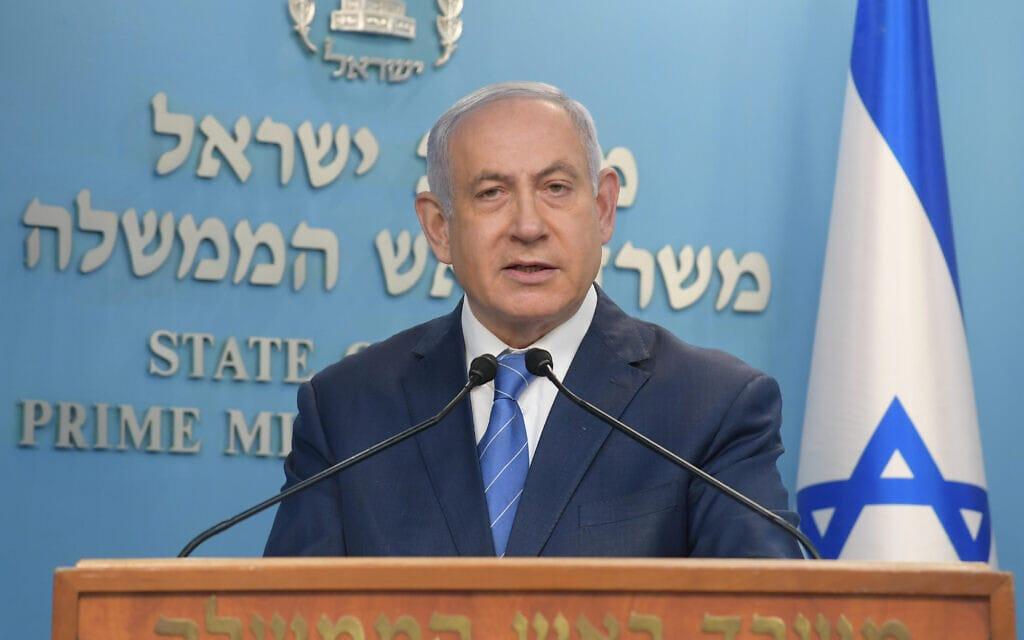 """ראש הממשלה בנימין נתניהו נושא הצהרה בשידור חי בנושא הקורונה, 25 במרץ 2020 (צילום: עמוס בן גרשום / לע""""מ)"""