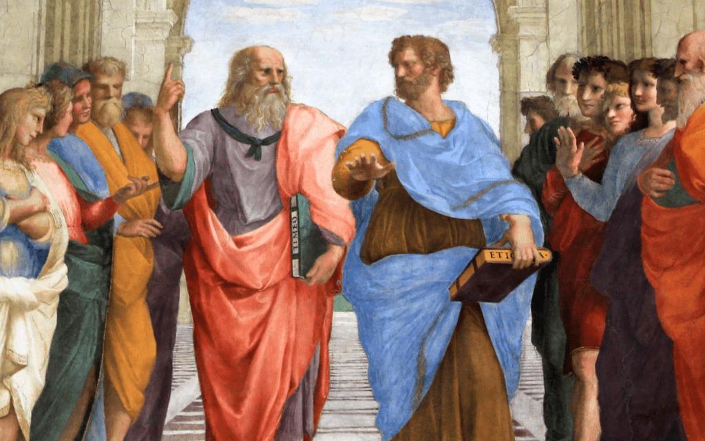 """אפלטון וסוקרטס ב""""אקדמיה האפלטונית"""" שנוסדה באתונה על ידי הפילוסוף אפלטון ב-385 לפנה""""ס, פרט מפרסקו של רפאל, ויקיפדיה,Stanza della Segnatura, Palazzi Pontifici, Vatican"""