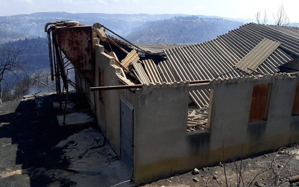 שרפות מבנים המכילים אסבסט בעקבות השרפה בירושלים (צילום: המשרד להגנת הסביבה)