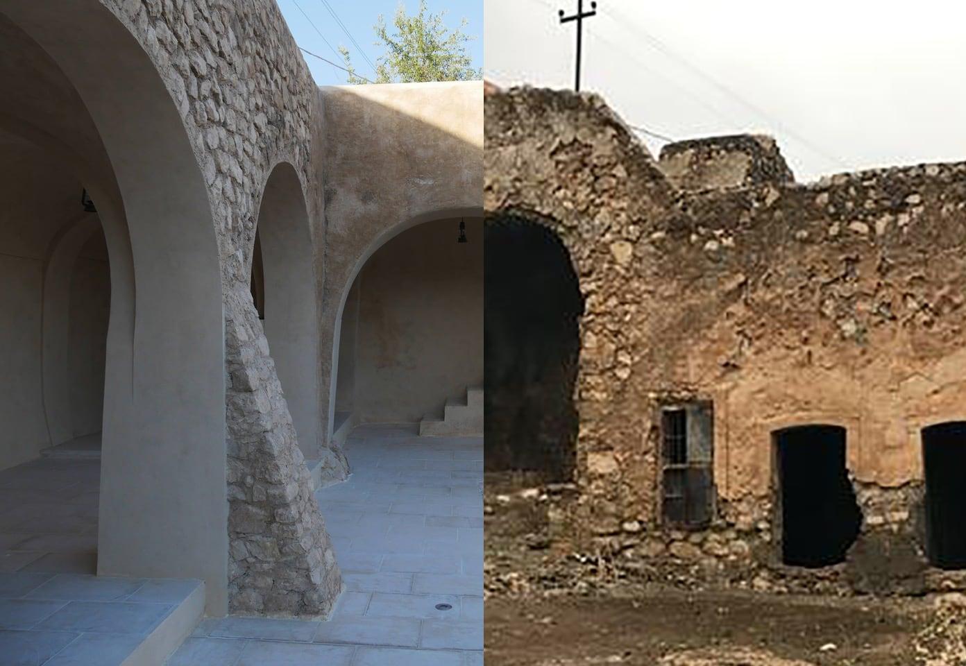 החצר הפנימית במתחם קבר נחום באלקוש – לפני ואחרי השחזור (צילום: אדם טיפן, מונטז')