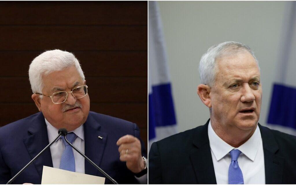 שר הביטחון בני גנץ, יושב ראש הרשות הפלסטינית מחמוד עבאס, ארכיון (צילום: Olivier Fitoussi/Flash90)