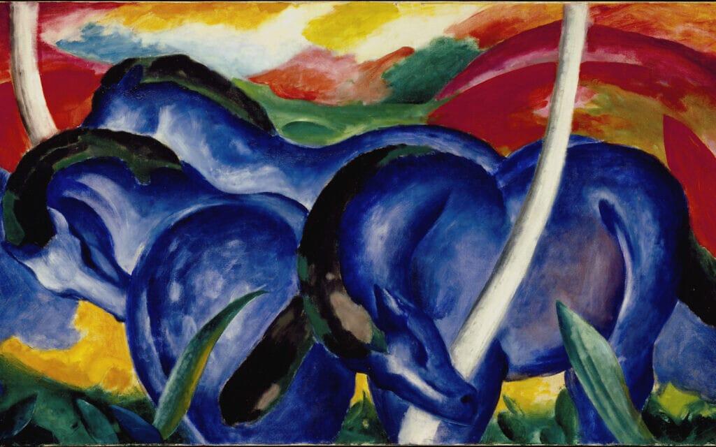 """פרנץ מארק, """"הסוסים הכחולים הגדולים"""" (צילום: המוזיאון היהודי)"""