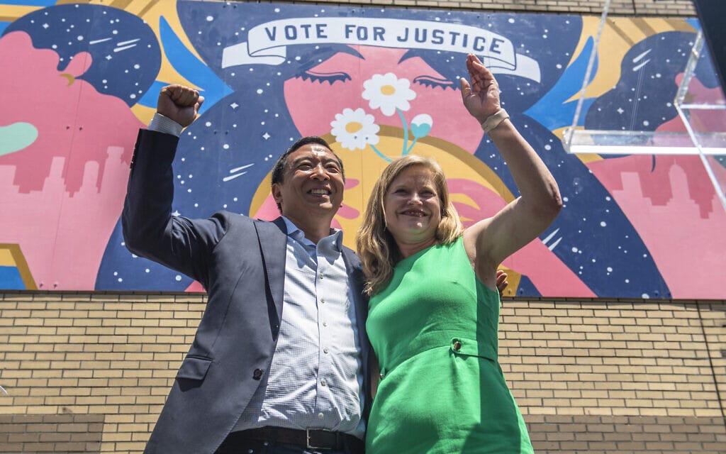 קמפיין משותף של אנדרו יאנג וקתרין גרסיה לראשות עיריית ניו יורק, בחירות 2021 (צילום: AP Photo/Brittainy Newman)