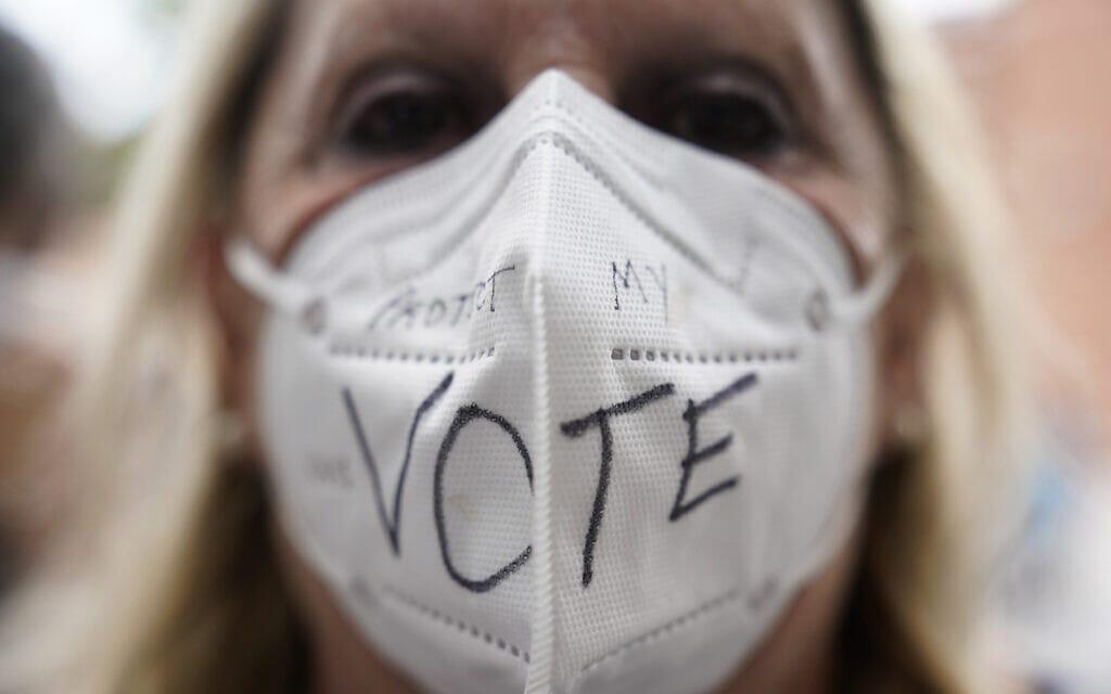 מפגינה בוושינגטון הבירה למען זכות הצבעה בקונגרס, 28 באוגוסט 2021