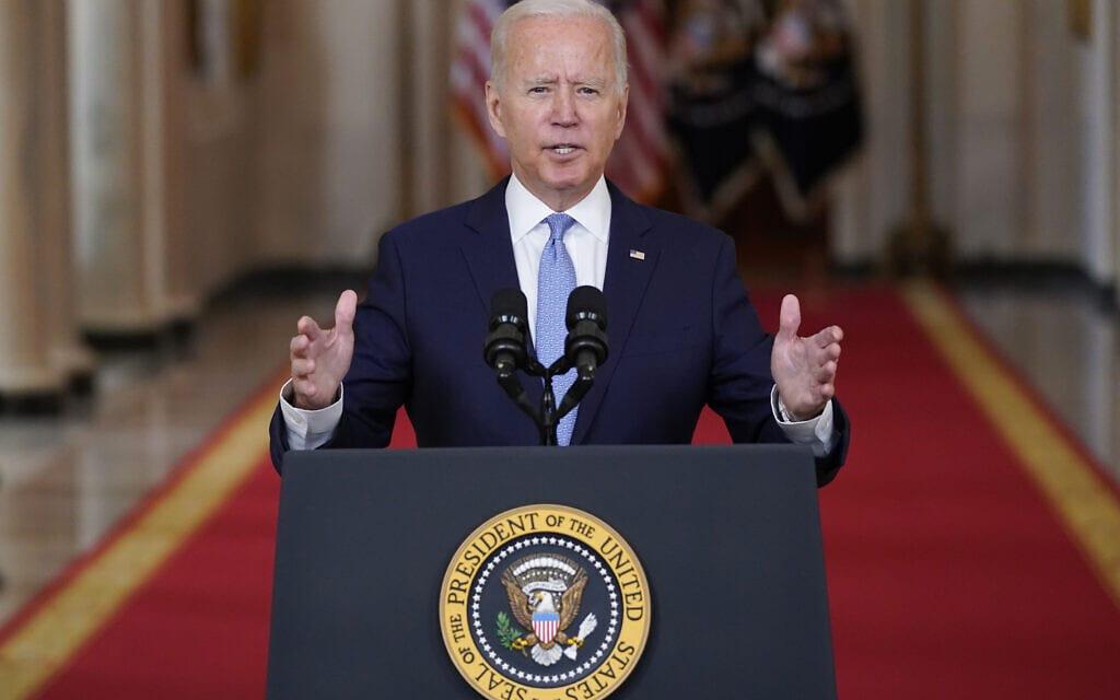 נשיא ארצות הברית ג'ו ביידן נושא דברים מחדר האוכל הממלכתי בבית הלבן, 31 באוגוסט 2021 (צילום: Evan Vucci, AP)