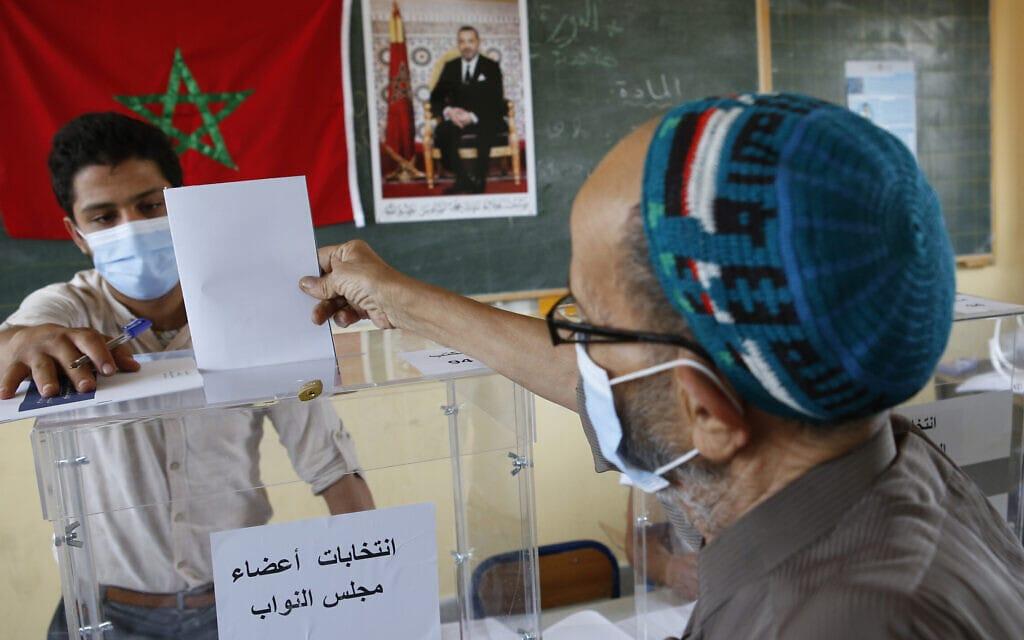 קלפי במרוקו, 8 בספטמבר 2021 (צילום: AP Photo/Abdeljalil Bounhar))