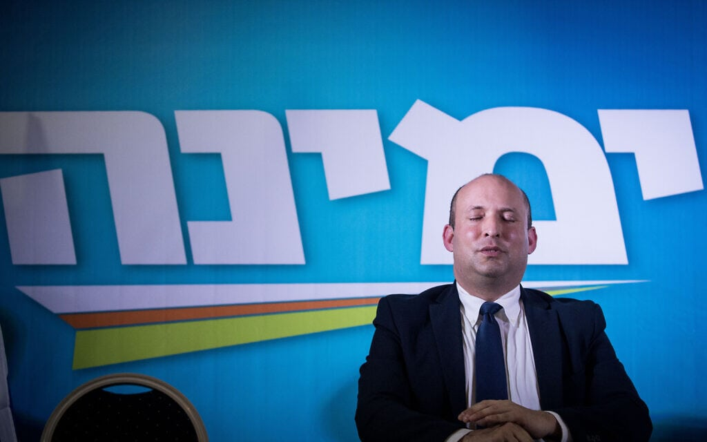 נפתלי בנט במהלך קמפיין הבחירות של ימינה, מרץ 2020 (צילום: יונתן זינדל/פלאש90)