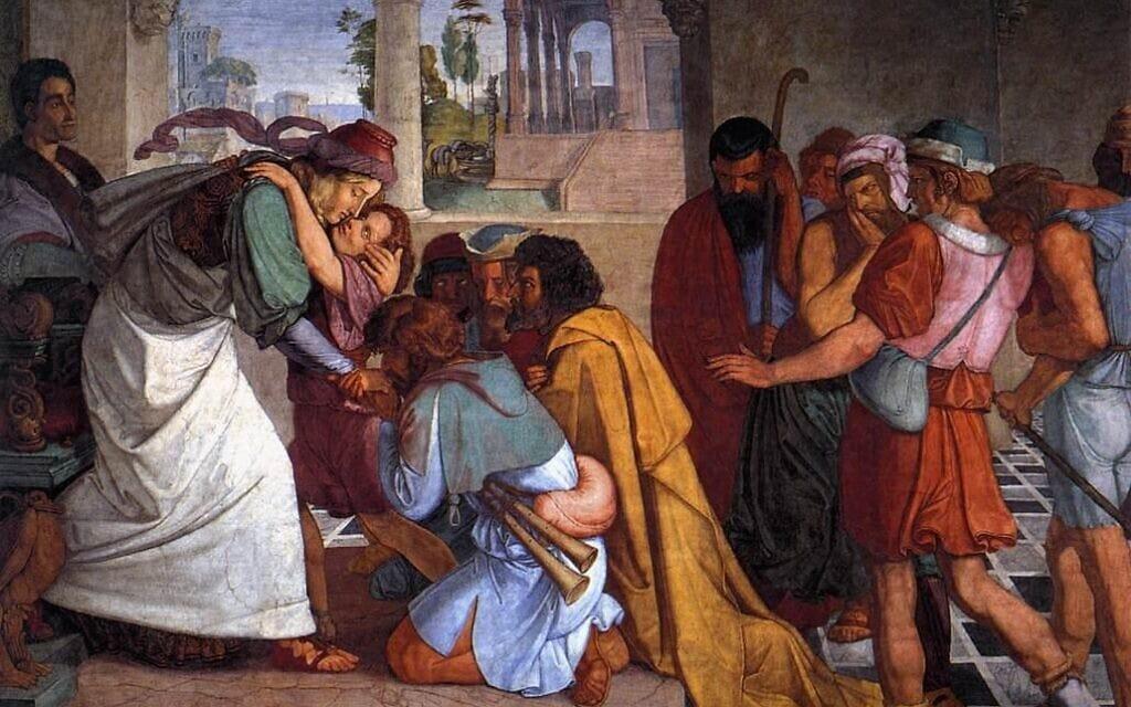 יוסף ואחיו – יוסף מתוודע לאחיו במצרים, ציור: פטר פון קורנליוס (1816/7)