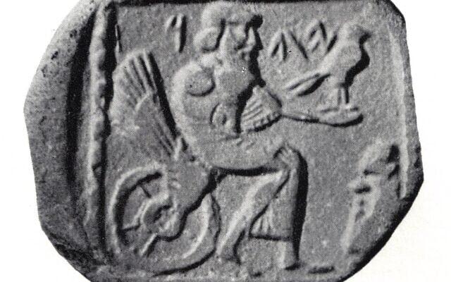 """מטבע מהמאה הרביעית לפנה""""ס שנמצא בעזה ומתאר את האל יהוה (מתוך ויקימדיה)"""