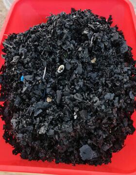 פתיתים שחורים שנאספו מהחוף על ידי המשרד להגנת הסביבה, 22 בספטמבר 2021 (צילום: עמיר ארד, המשרד להגנת הסביבה)