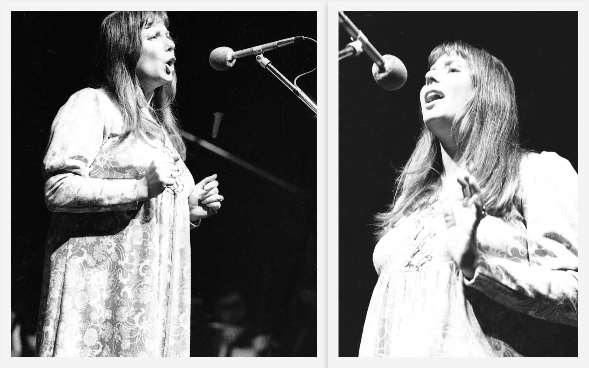 צילה דגן בערב שירי משוררים בבית החייל בתל אביב, 25 בינואר 1972 (צילום: אוסף דן הדני, הספרייה הלאומית)