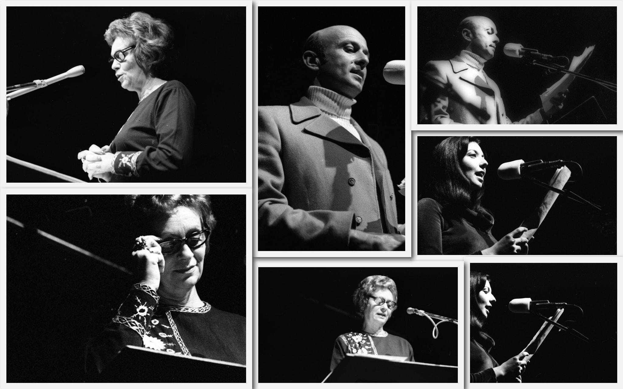 חנה מרון, יוסי גרבר ואיריס לביא מנחים את ערב שירי משוררים בבית החייל בתל אביב, 21 בינואר 1972 (צילום: אוסף דן הדני, הספרייה הלאומית)