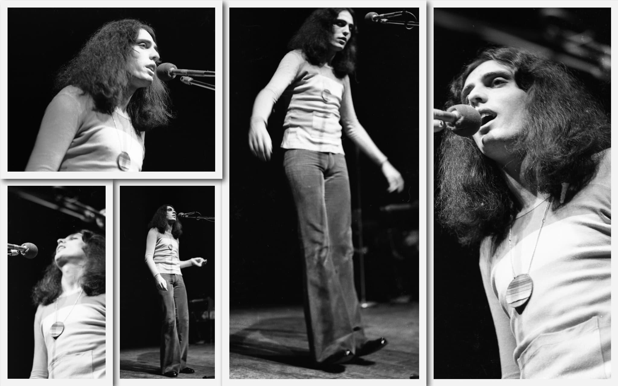 צביקה פיק בערב שירי משוררים בבית החייל בתל אביב, 25 בינואר 1972 (צילום: אוסף דן הדני, הספרייה הלאומית)