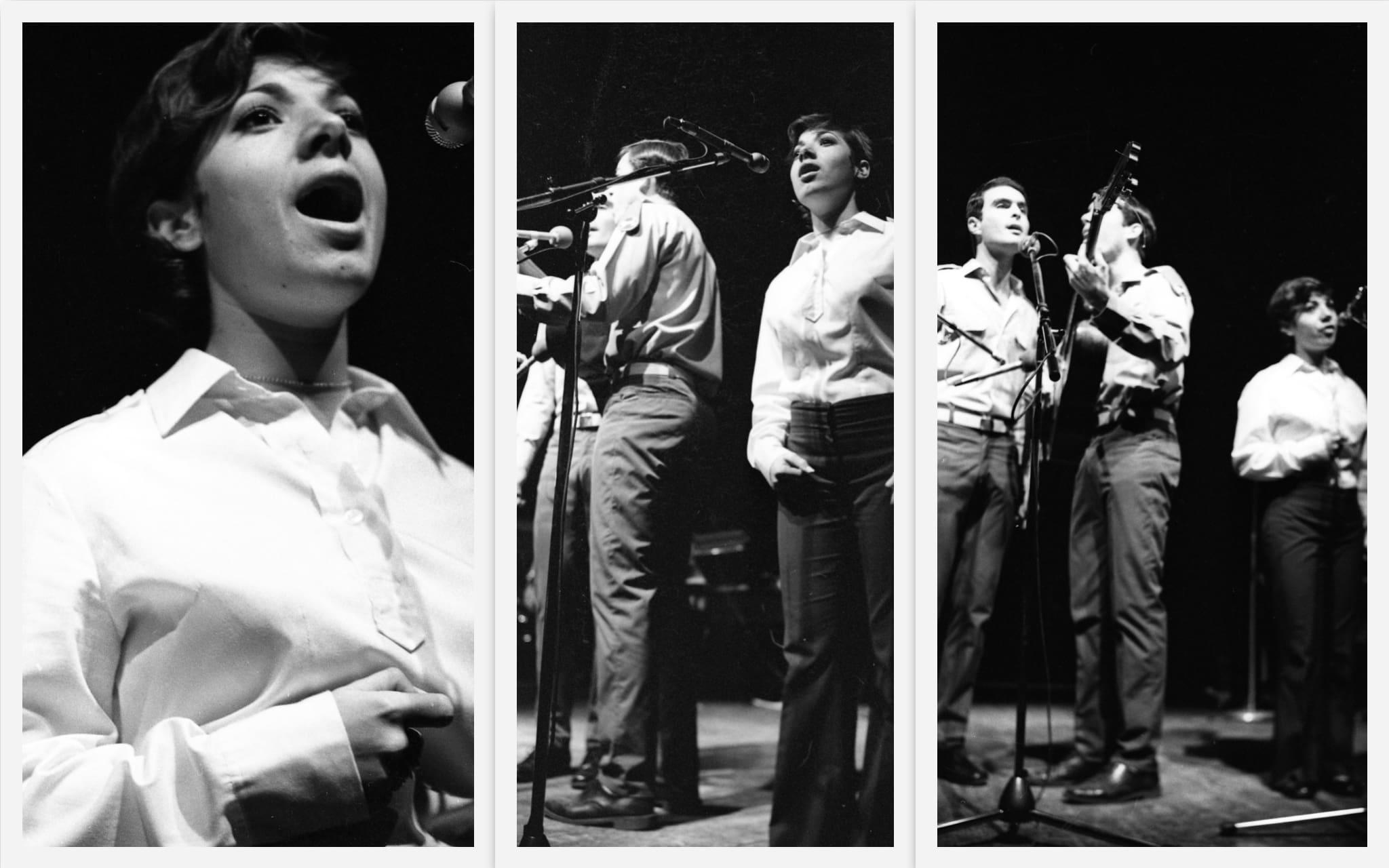 שלישיית פיקוד מרכז עם דורית ראובני בערב שירי משוררים בבית החייל בתל אביב, 25 בינואר 1972 (צילום: אוסף דן הדני, הספרייה הלאומית)