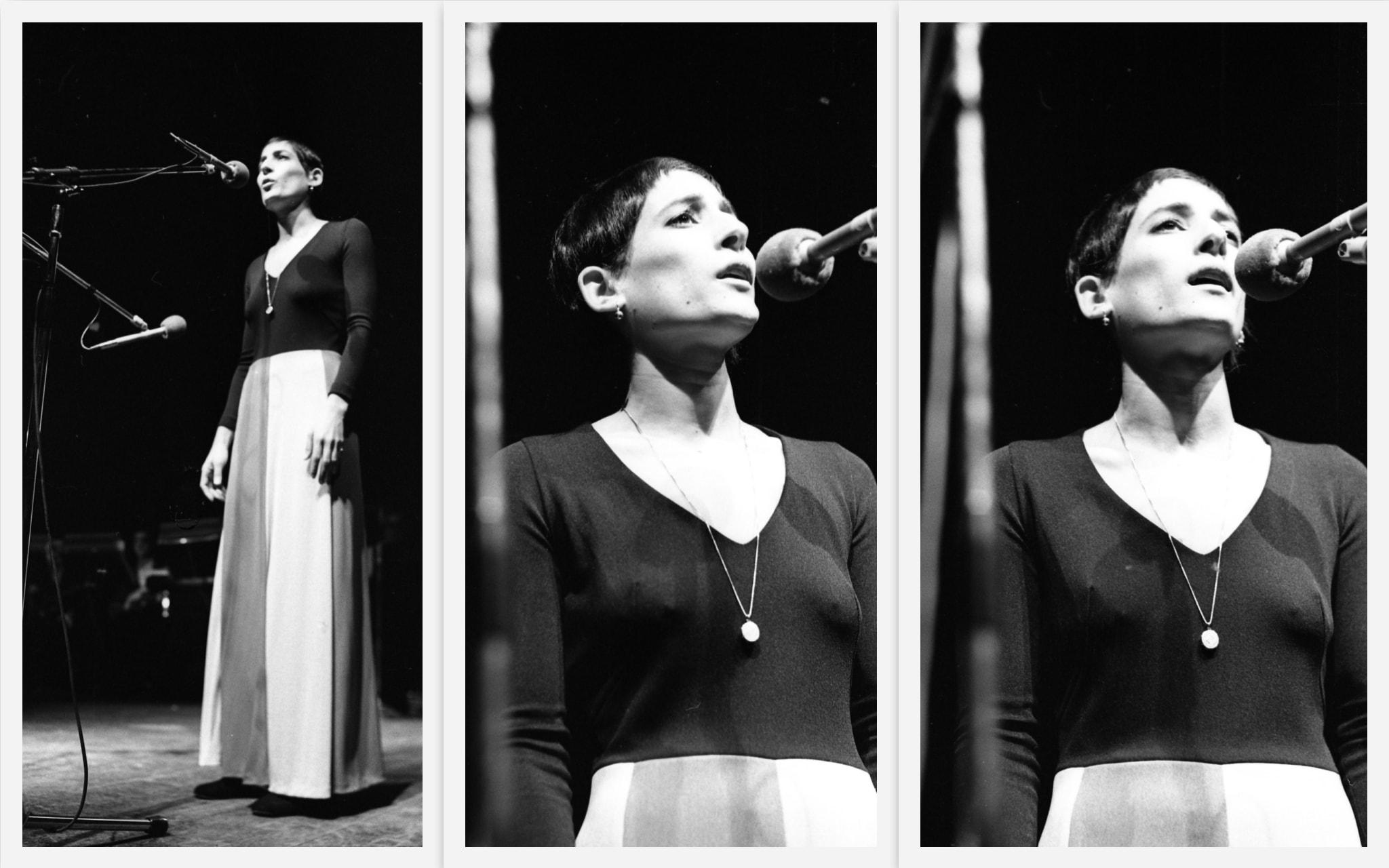 רבקה זהר בערב שירי משוררים בבית החייל בתל אביב, 25 בינואר 1972 (צילום: אוסף דן הדני, הספרייה הלאומית)