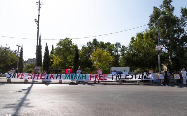 הפגנה בשכונת שייח' ג'ראח בירושלים, אוגוסט 2021 (צילום: שי קנדלר)
