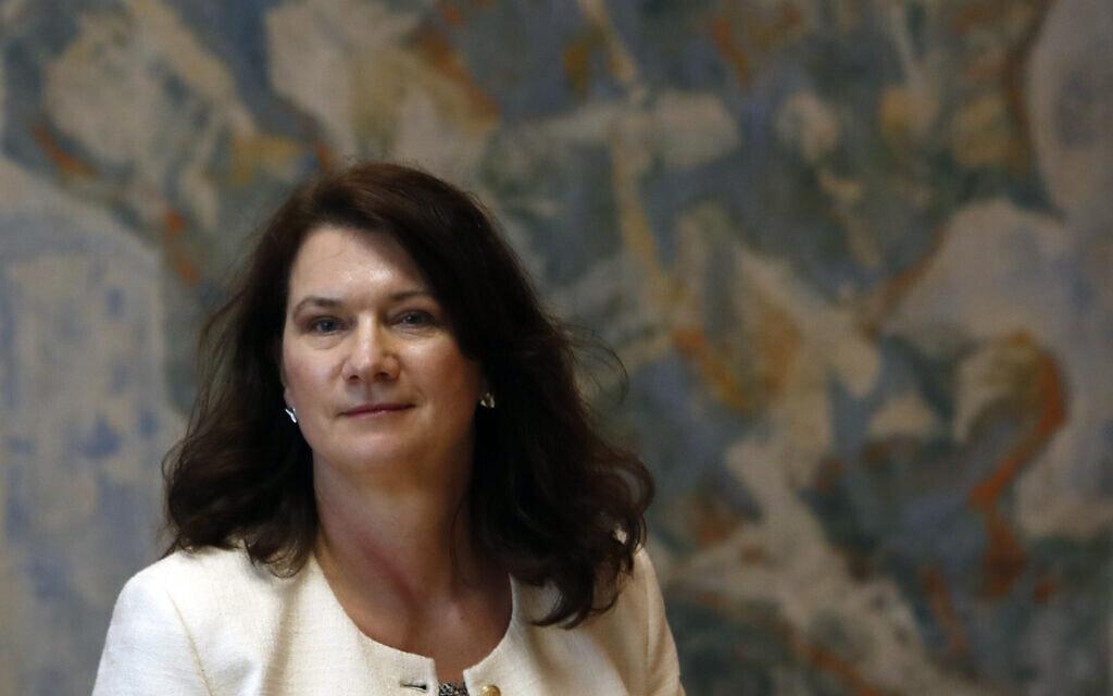 שרת החוץ של שוודיה, אן לינדה (צילום: AP Photo/Darko Vojinovic)