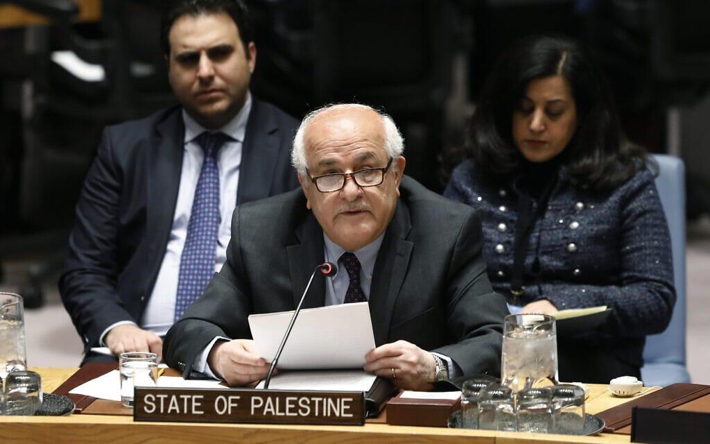 """השגריר הפלסטיני ריאד מנסור, מדבר במועצת הביטחון של האו""""ם, 22 בינואר 2019 (צילום: AP/Richard Drew)"""