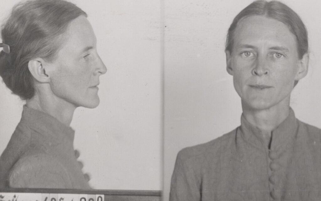 צילומי גסטאפו של מילדרד הרנק אחרי מעצרה, 1941 (צילום: Bundesarchiv, R 58/03191-228)