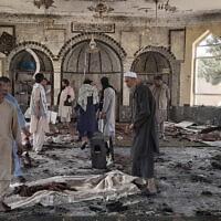 המסגד בקונדוז שצפון מזרח אפגניסטן, שבו אירע פיגוע, 8 באוקטובר 2021 (צילום: Abdullah Sahil, AP)